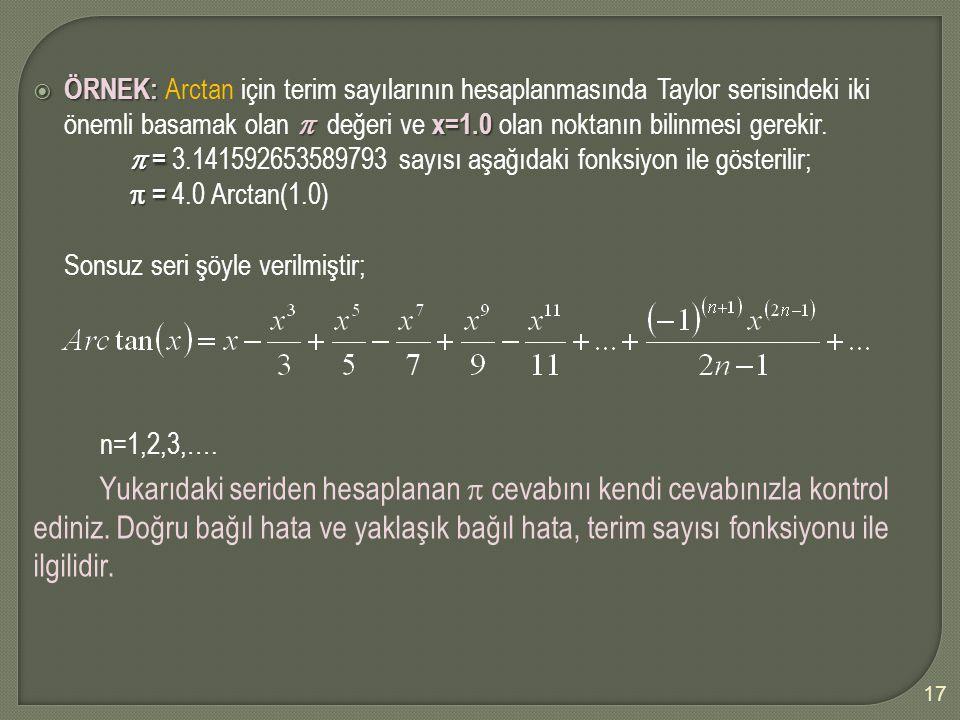 ÖRNEK: Arctan için terim sayılarının hesaplanmasında Taylor serisindeki iki önemli basamak olan  değeri ve x=1.0 olan noktanın bilinmesi gerekir.
