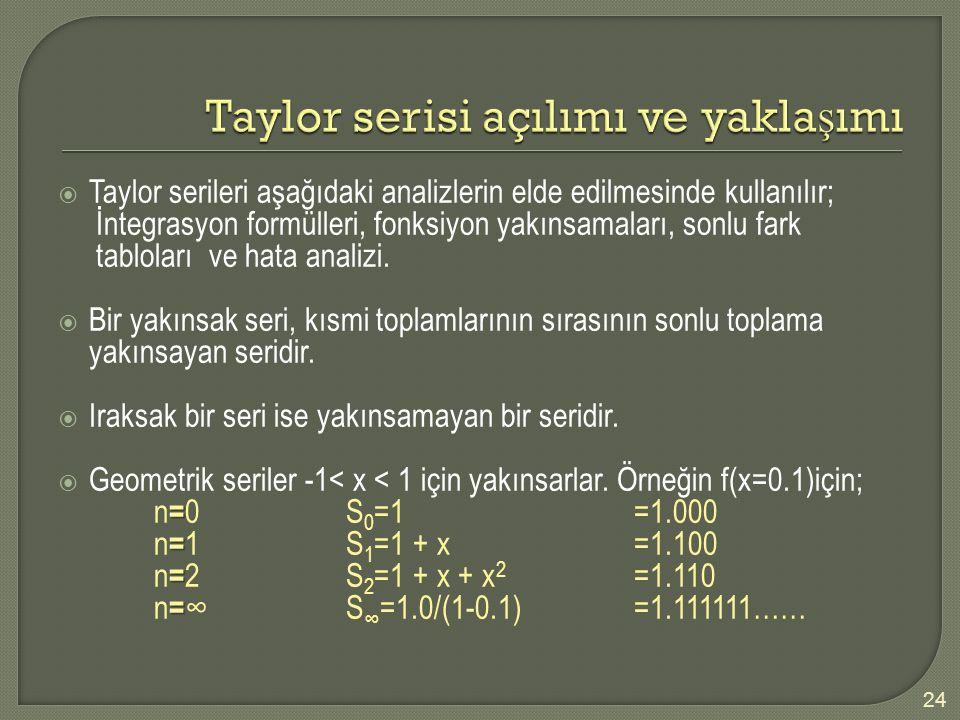 Taylor serisi açılımı ve yaklaşımı