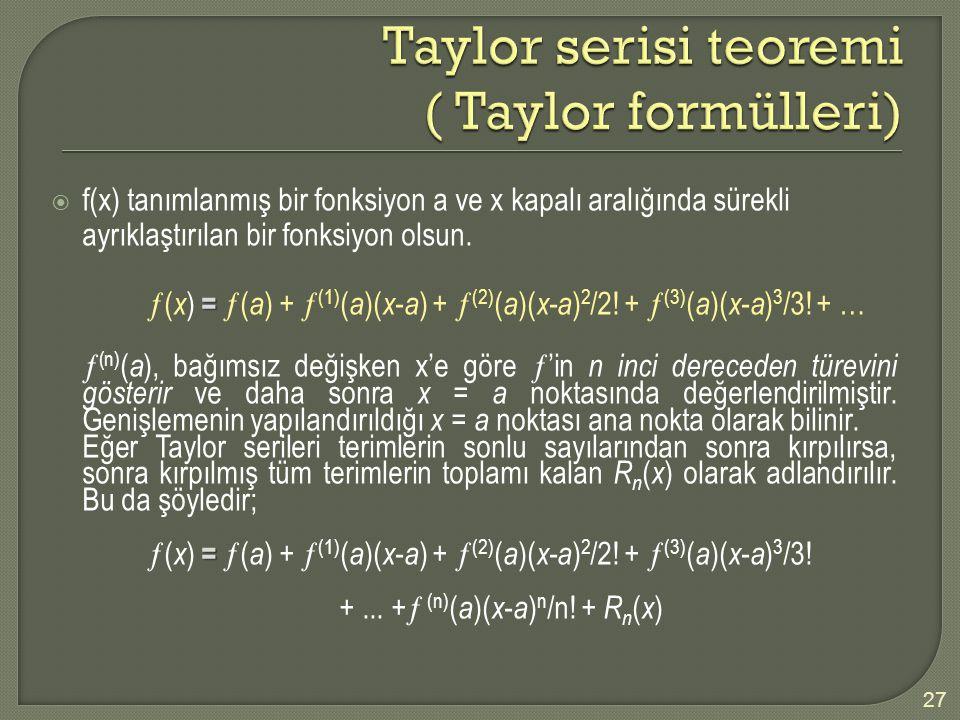 Taylor serisi teoremi ( Taylor formülleri)