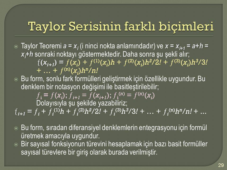 Taylor Serisinin farklı biçimleri