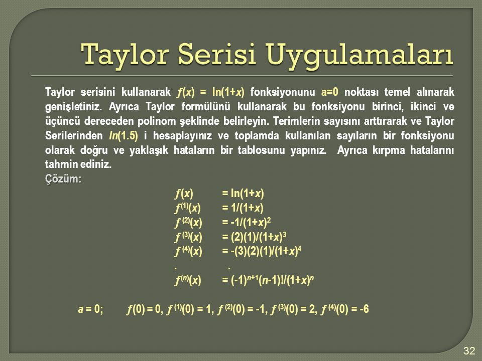 Taylor Serisi Uygulamaları