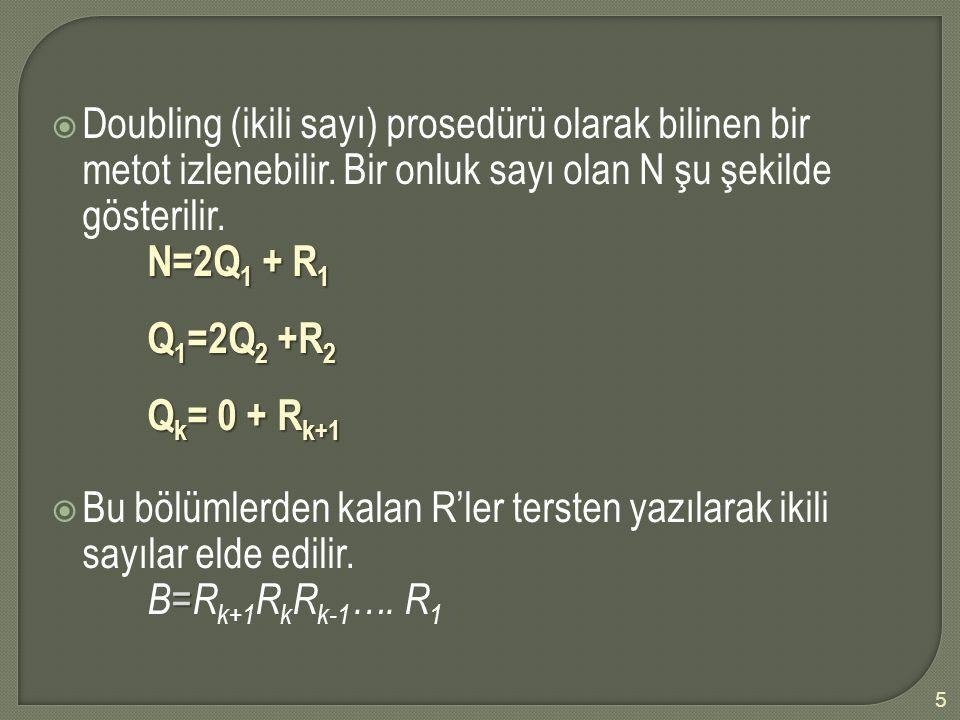 Doubling (ikili sayı) prosedürü olarak bilinen bir metot izlenebilir