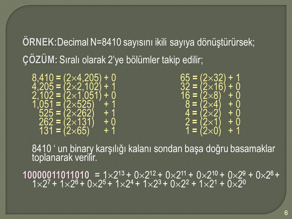 ÖRNEK:Decimal N=8410 sayısını ikili sayıya dönüştürürsek;
