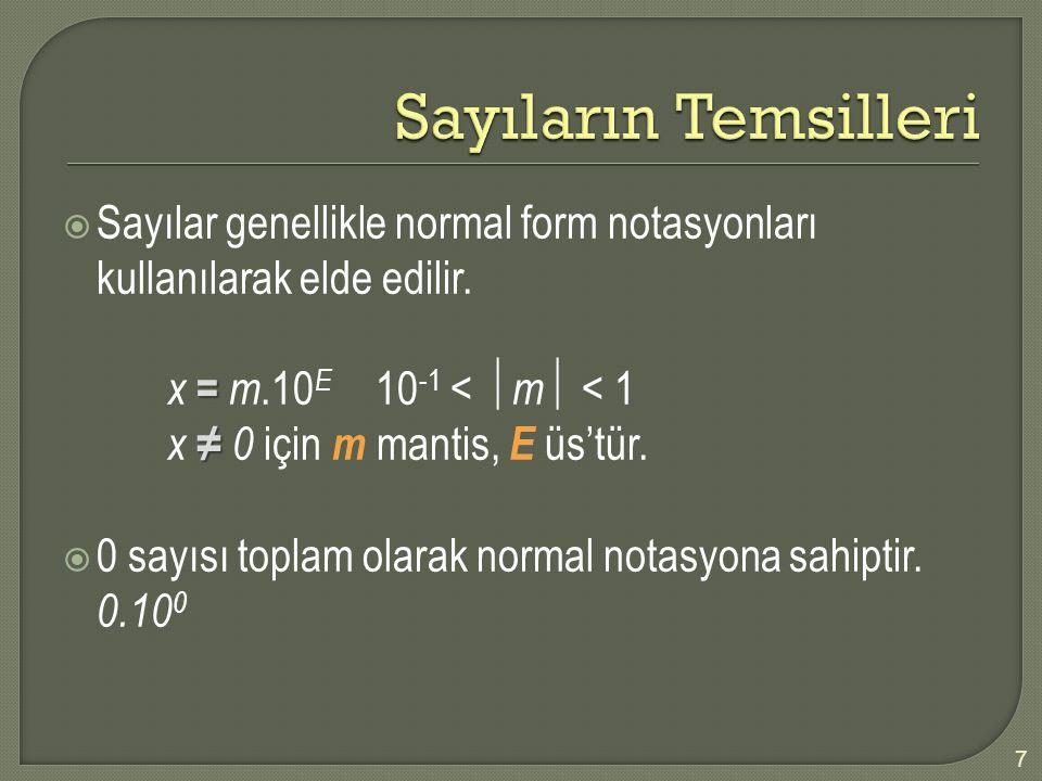 Sayıların Temsilleri Sayılar genellikle normal form notasyonları kullanılarak elde edilir. x = m.10E 10-1 < m < 1.