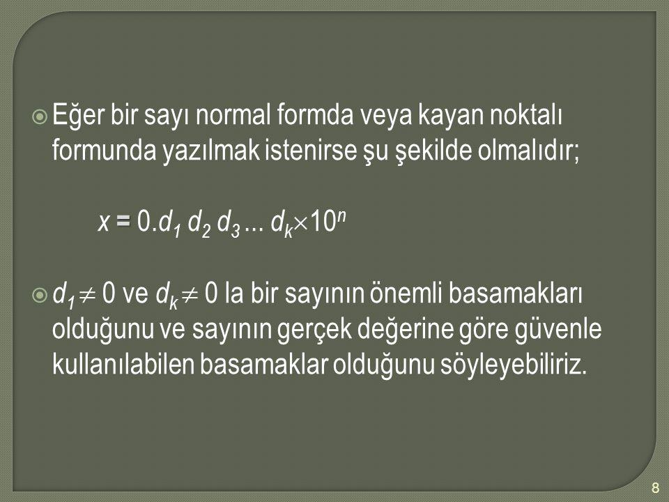Eğer bir sayı normal formda veya kayan noktalı formunda yazılmak istenirse şu şekilde olmalıdır;