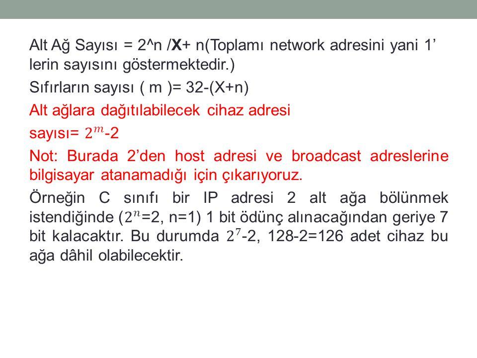 Alt Ağ Sayısı = 2^n /X+ n(Toplamı network adresini yani 1' lerin sayısını göstermektedir.) Sıfırların sayısı ( m )= 32-(X+n) Alt ağlara dağıtılabilecek cihaz adresi sayısı= 2 𝑚 -2 Not: Burada 2'den host adresi ve broadcast adreslerine bilgisayar atanamadığı için çıkarıyoruz.
