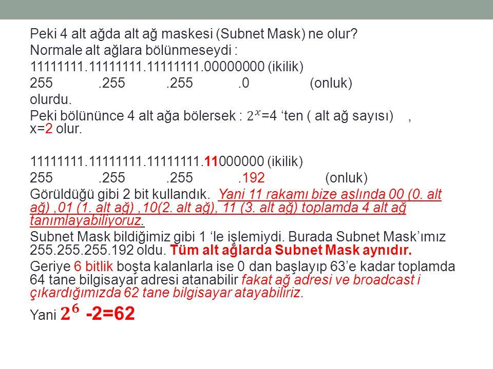 Peki 4 alt ağda alt ağ maskesi (Subnet Mask) ne olur