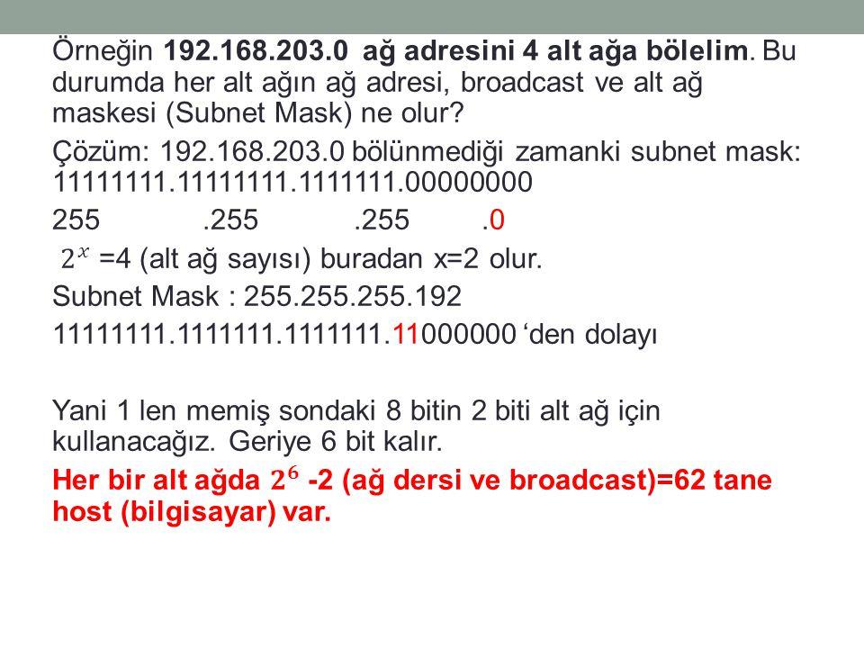 Örneğin 192. 168. 203. 0 ağ adresini 4 alt ağa bölelim