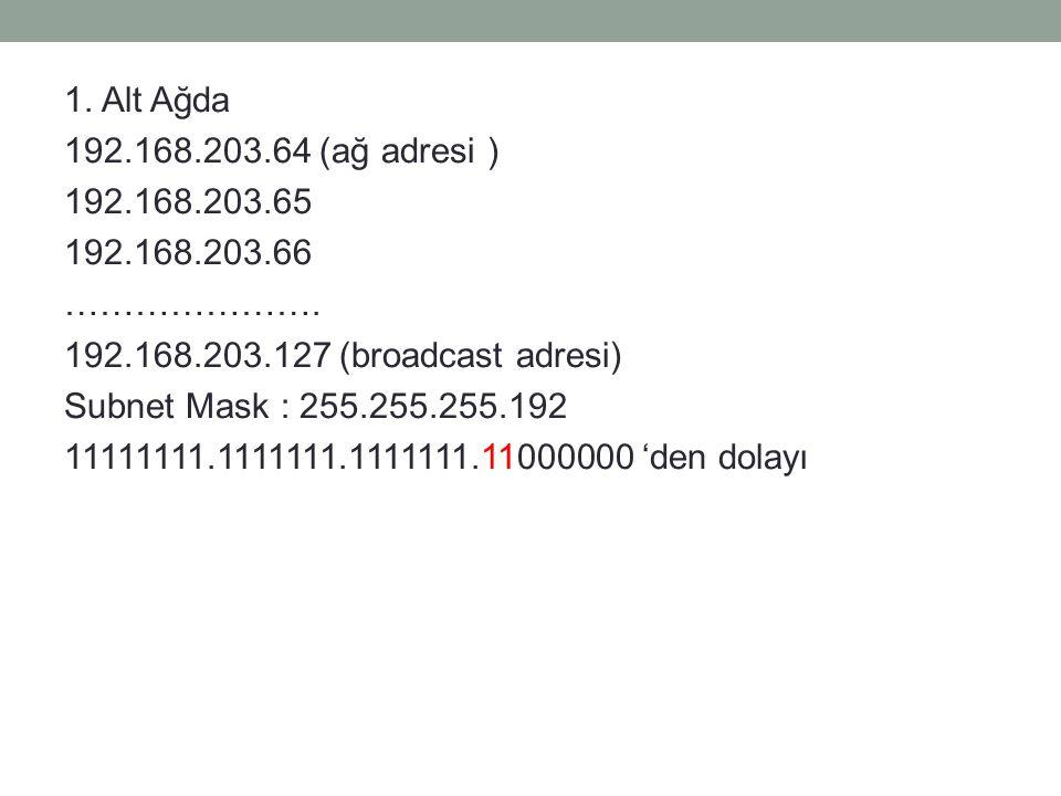 1. Alt Ağda 192.168.203.64 (ağ adresi ) 192.168.203.65 192.168.203.66 ………………….