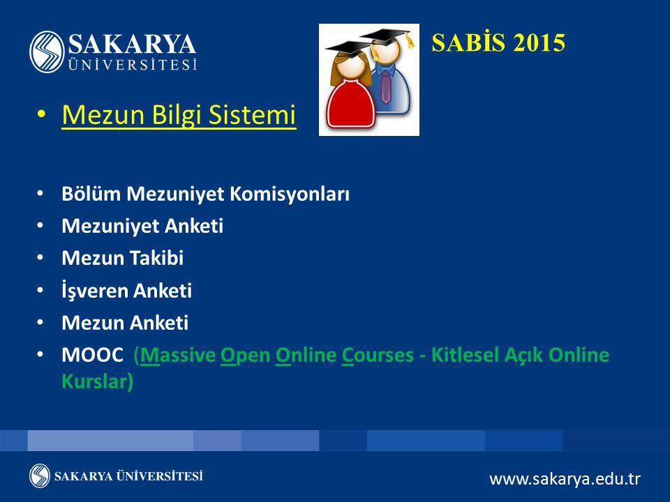 Mezun Bilgi Sistemi SABİS 2015 Bölüm Mezuniyet Komisyonları