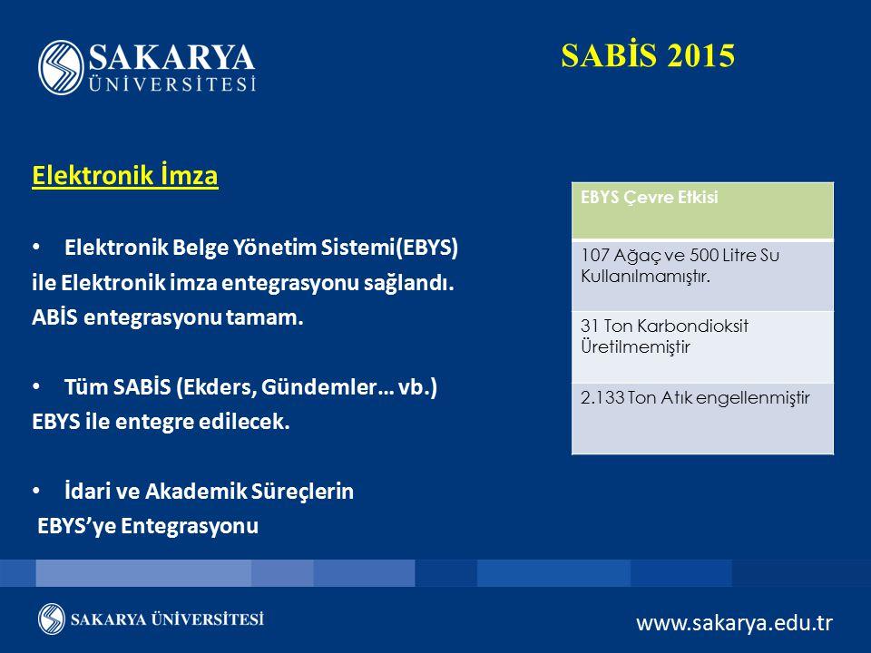 SABİS 2015 Elektronik İmza Elektronik Belge Yönetim Sistemi(EBYS)