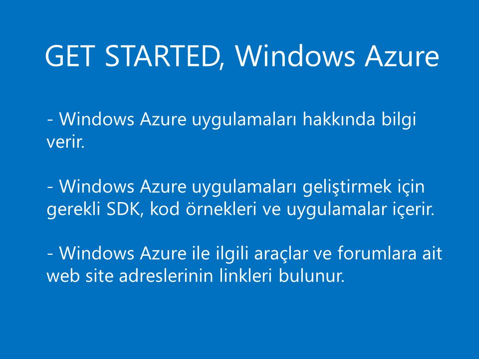 GET STARTED, Windows Azure