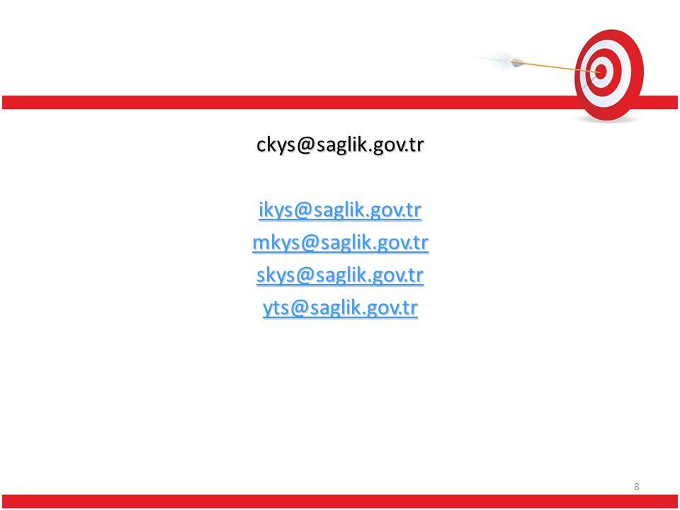 ckys@saglik. gov. tr ikys@saglik. gov. tr mkys@saglik. gov