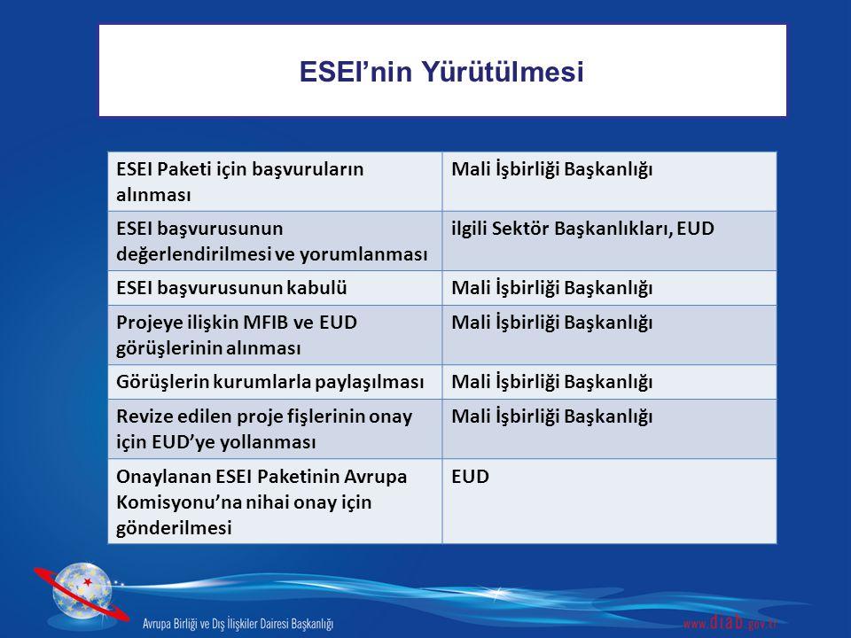 ESEI'nin Yürütülmesi ESEI Paketi için başvuruların alınması