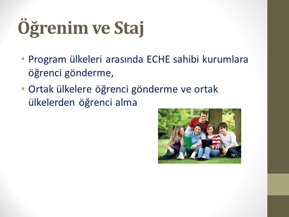 Öğrenim ve Staj Program ülkeleri arasında ECHE sahibi kurumlara öğrenci gönderme, Ortak ülkelere öğrenci gönderme ve ortak ülkelerden öğrenci alma.