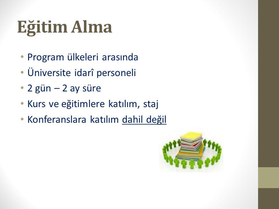Eğitim Alma Program ülkeleri arasında Üniversite idarî personeli
