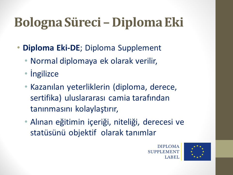 Bologna Süreci – Diploma Eki
