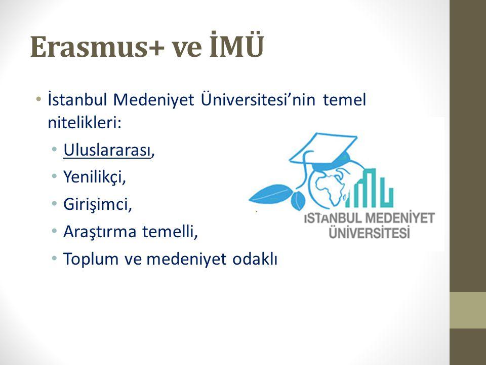 Erasmus+ ve İMÜ İstanbul Medeniyet Üniversitesi'nin temel nitelikleri: