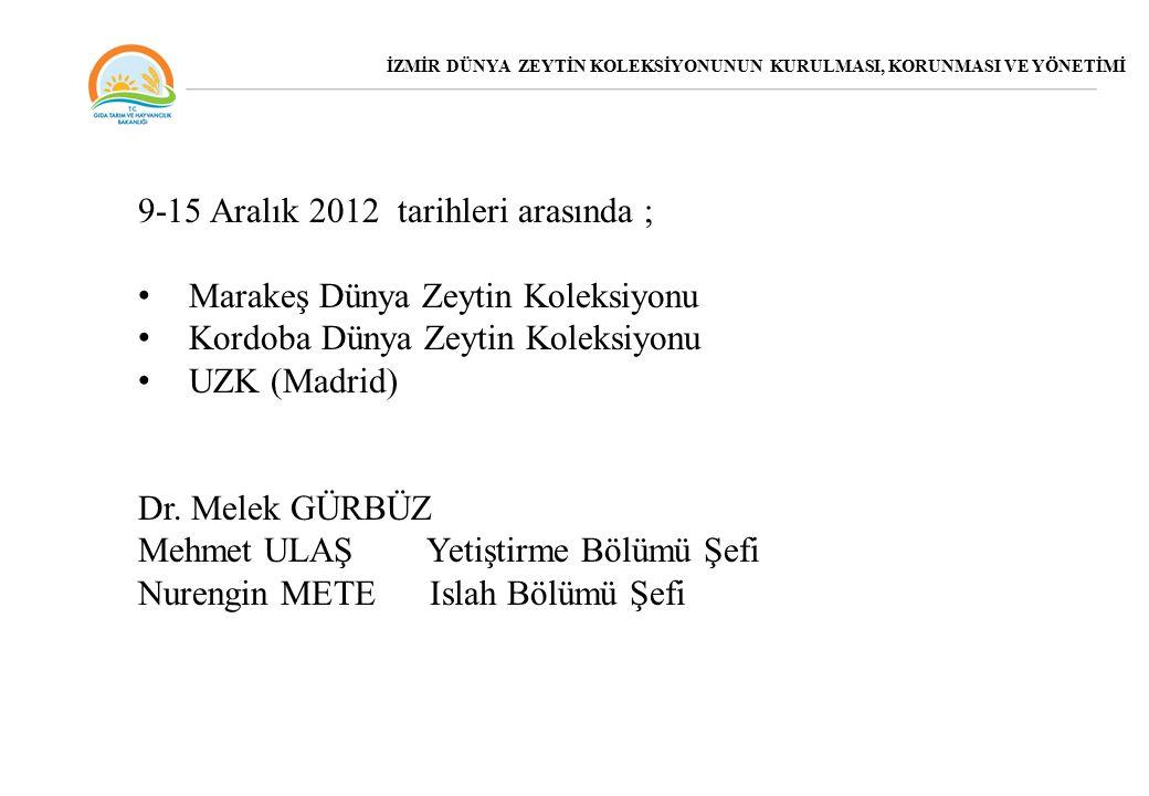 9-15 Aralık 2012 tarihleri arasında ; Marakeş Dünya Zeytin Koleksiyonu