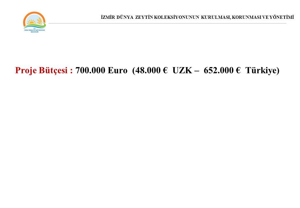 Proje Bütçesi : 700.000 Euro (48.000 € UZK – 652.000 € Türkiye)
