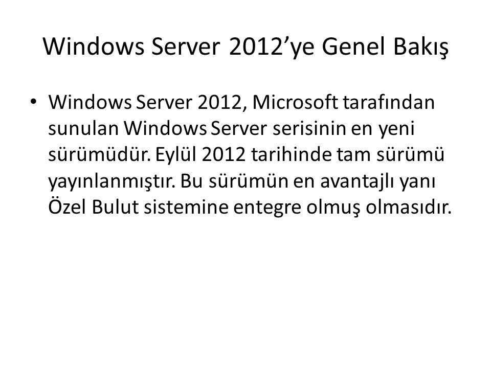 Windows Server 2012'ye Genel Bakış