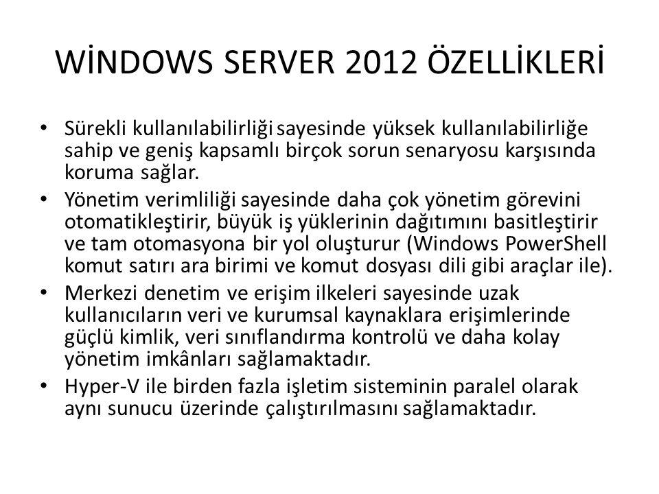 WİNDOWS SERVER 2012 ÖZELLİKLERİ
