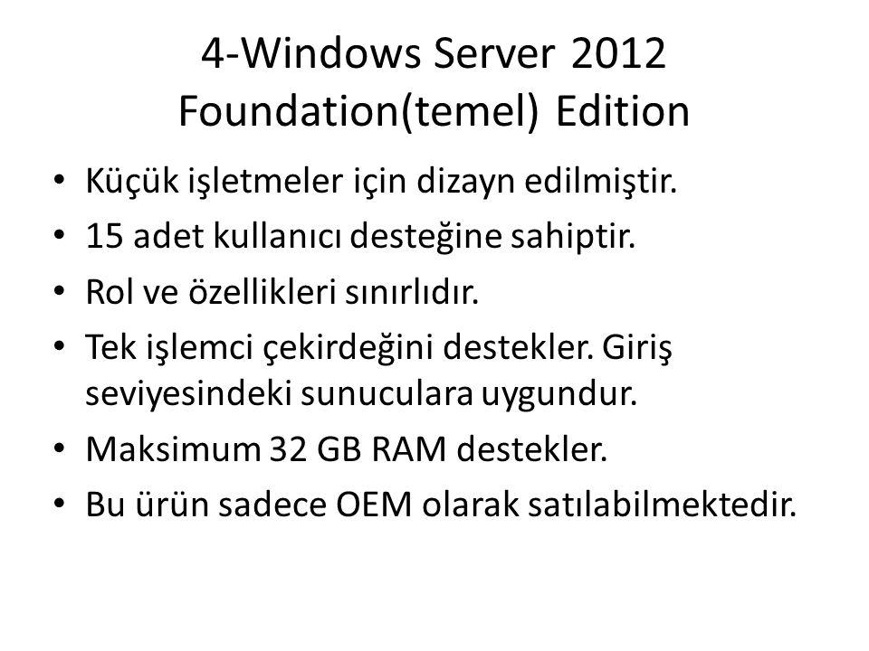 4-Windows Server 2012 Foundation(temel) Edition