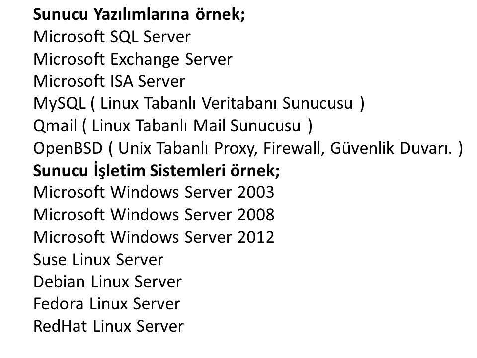 Sunucu Yazılımlarına örnek; Microsoft SQL Server Microsoft Exchange Server Microsoft ISA Server MySQL ( Linux Tabanlı Veritabanı Sunucusu ) Qmail ( Linux Tabanlı Mail Sunucusu ) OpenBSD ( Unix Tabanlı Proxy, Firewall, Güvenlik Duvarı. ) Sunucu İşletim Sistemleri örnek; Microsoft Windows Server 2003 Microsoft Windows Server 2008