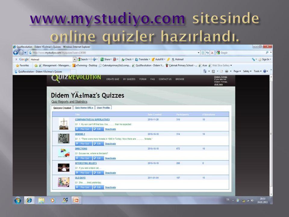 www.mystudiyo.com sitesinde online quizler hazırlandı.
