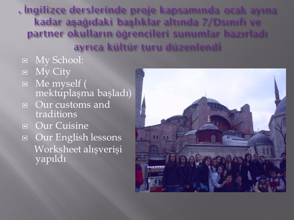 . İngilizce derslerinde proje kapsamında ocak ayına kadar aşağıdaki başlıklar altında 7/Dsınıfı ve partner okulların öğrencileri sunumlar hazırladı ayrıca kültür turu düzenlendi