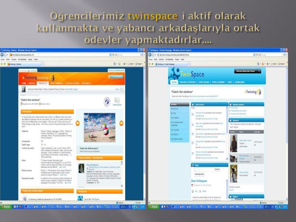 Öğrencilerimiz twinspace i aktif olarak kullanmakta ve yabancı arkadaşlarıyla ortak ödevler yapmaktadırlar....
