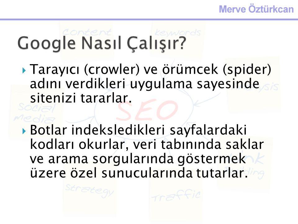 Google Nasıl Çalışır Tarayıcı (crowler) ve örümcek (spider) adını verdikleri uygulama sayesinde sitenizi tararlar.