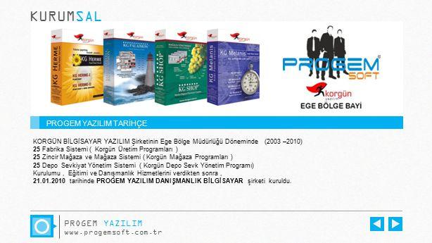 KURUMSAL PROGEM YAZILIM PROGEM YAZILIM TARİHÇE www.progemsoft.com.tr