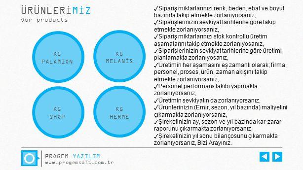 ÜRÜNLERİMİZ Our products KG PALAMION KG MELANİS KG SHOP KG HERME