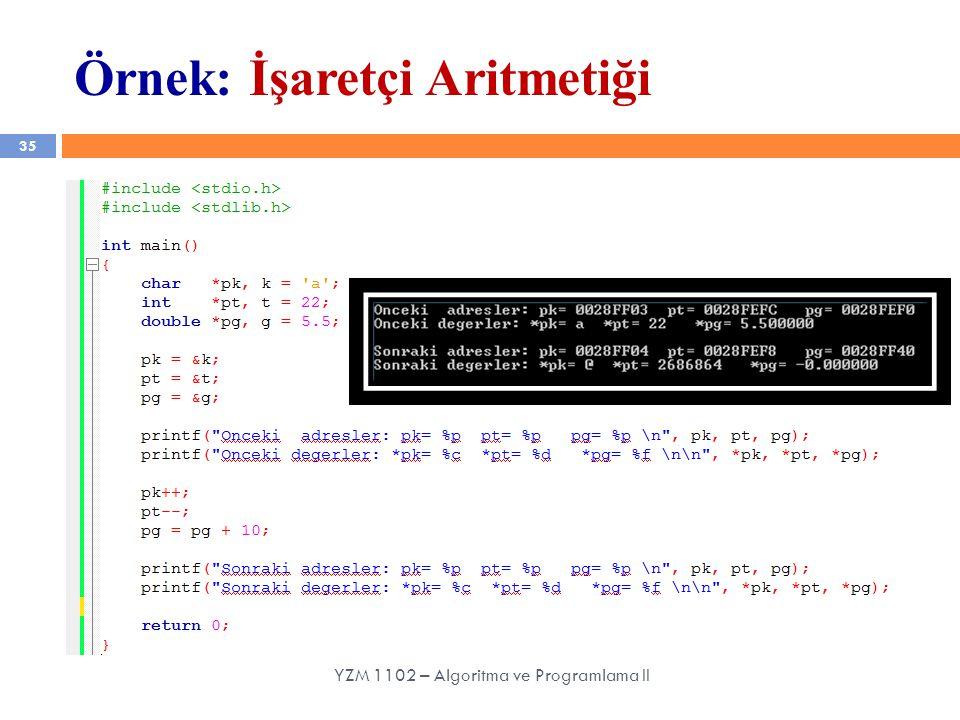 Örnek: İşaretçi Aritmetiği