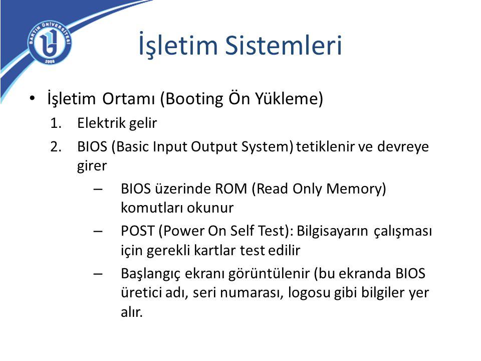 İşletim Sistemleri İşletim Ortamı (Booting Ön Yükleme) Elektrik gelir