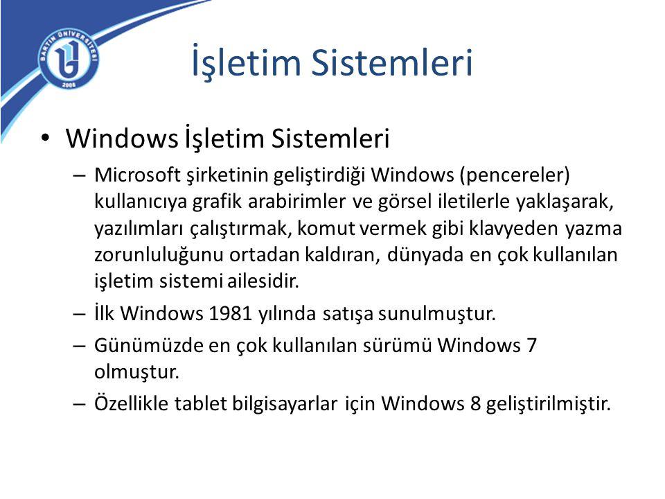 İşletim Sistemleri Windows İşletim Sistemleri