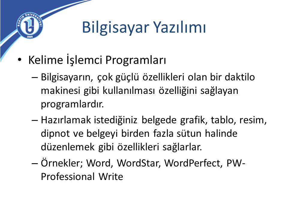Bilgisayar Yazılımı Kelime İşlemci Programları