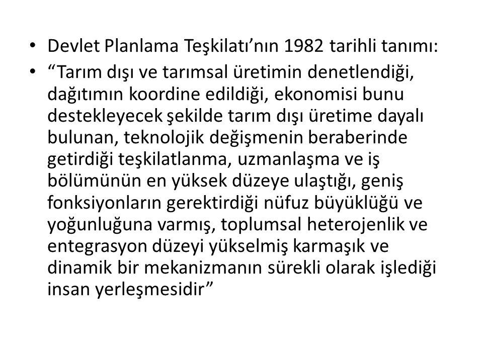 Devlet Planlama Teşkilatı'nın 1982 tarihli tanımı: