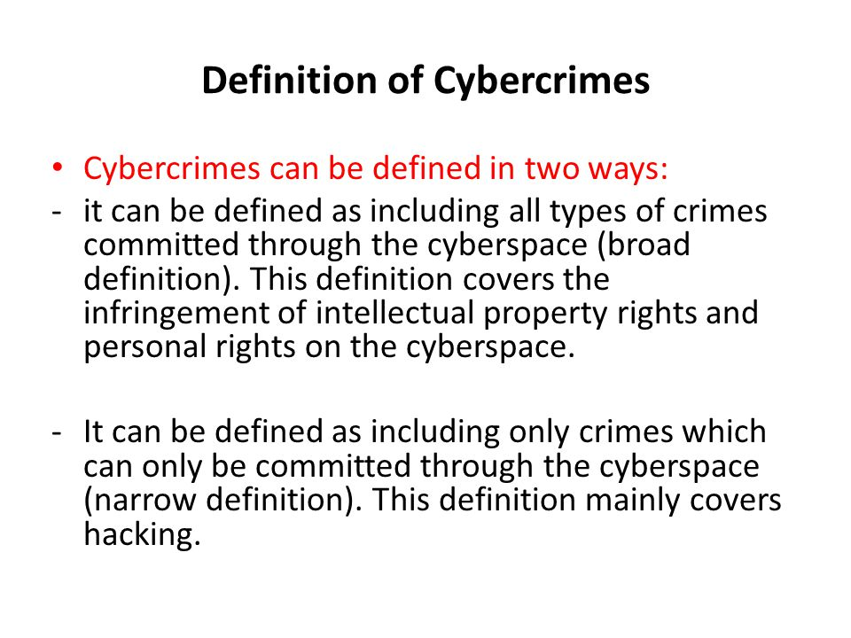 Definition of Cybercrimes