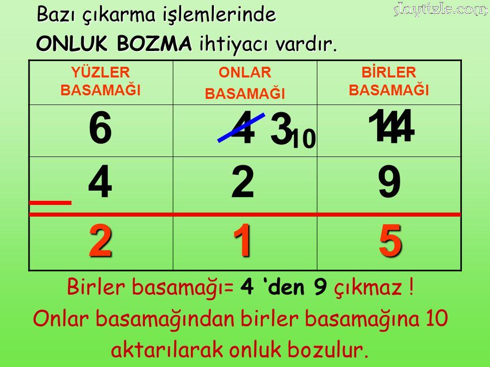 6 4 3 14 4 4 2 9 2 1 5 10 Birler basamağı= 4 'den 9 çıkmaz !
