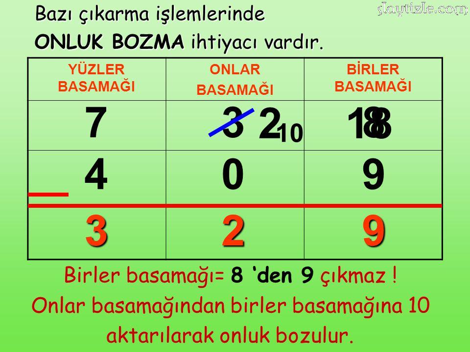 7 3 2 18 8 4 9 3 2 9 10 Birler basamağı= 8 'den 9 çıkmaz !
