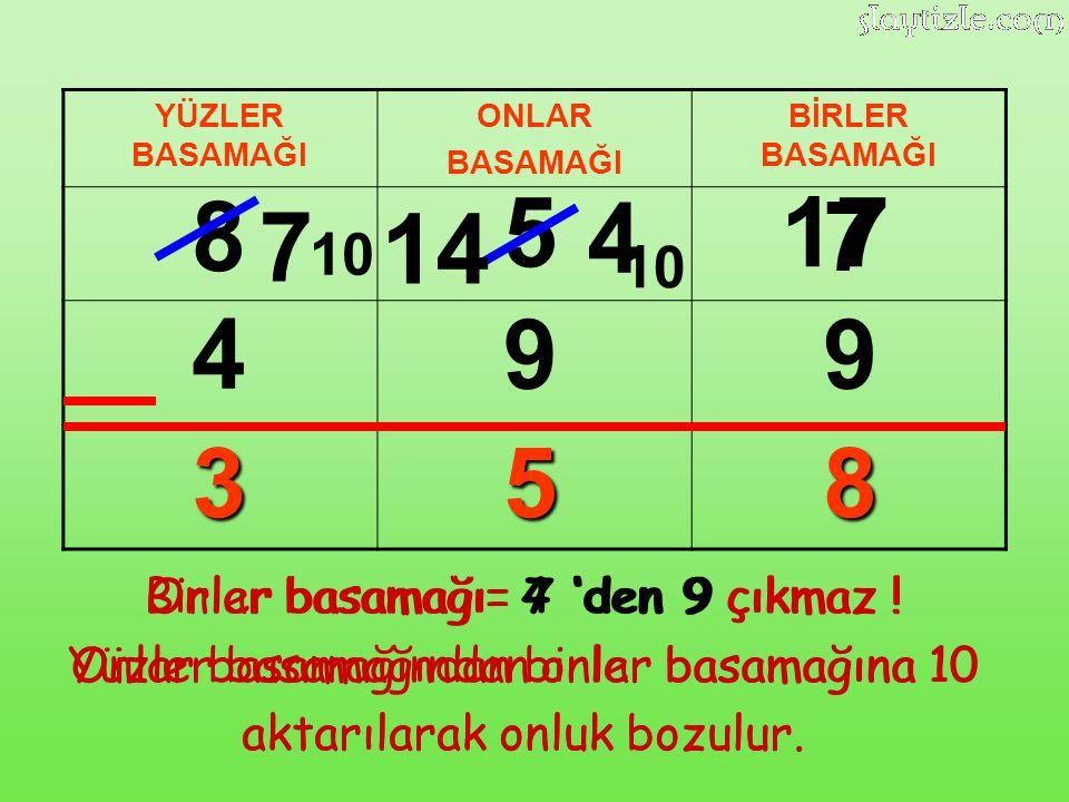 8 5 4 17 7 7 14 4 9 9 3 5 8 10 10 Birler basamağı= 7 'den 9 çıkmaz !