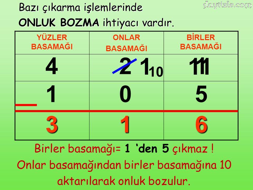 4 2 1 11 1 1 5 3 1 6 10 Birler basamağı= 1 'den 5 çıkmaz !