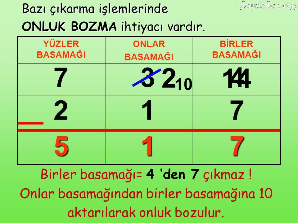 7 3 2 14 4 2 1 7 5 1 7 10 Birler basamağı= 4 'den 7 çıkmaz !
