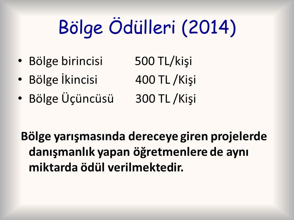 Bölge Ödülleri (2014) Bölge birincisi 500 TL/kişi