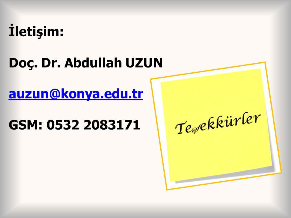 İletişim: Doç. Dr. Abdullah UZUN auzun@konya.edu.tr GSM: 0532 2083171