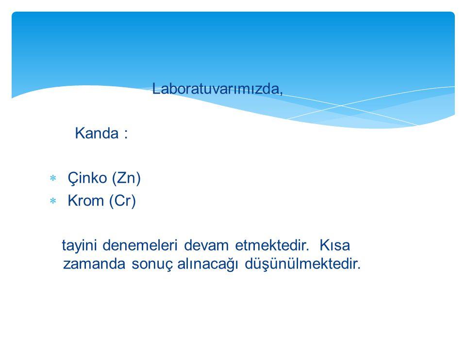 Laboratuvarımızda, Kanda : Çinko (Zn) Krom (Cr) tayini denemeleri devam etmektedir.