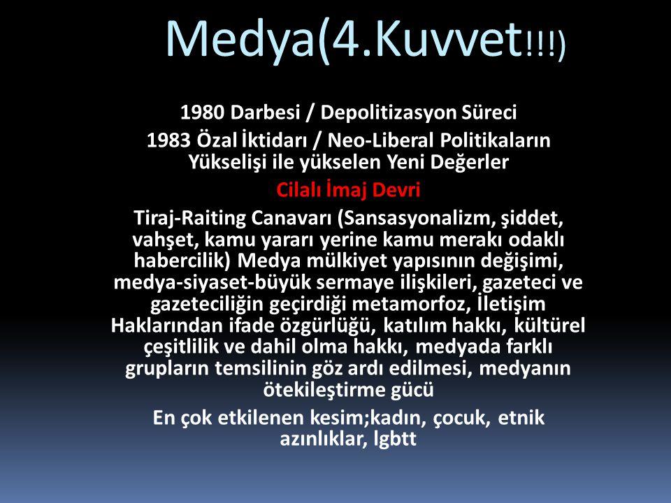 Medya(4.Kuvvet!!!) 1980 Darbesi / Depolitizasyon Süreci