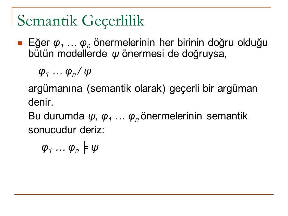 Semantik Geçerlilik Eğer φ1 … φn önermelerinin her birinin doğru olduğu bütün modellerde ψ önermesi de doğruysa,